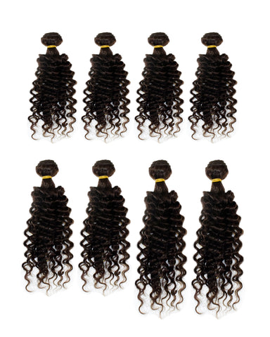 BEAU-DIVA WATER WAVE 8PCS Brazilian Human Blend Hair PACKAGE 12'+14'+16