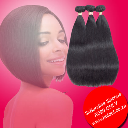 Brazilian Weaves on SALE 9A  3xBundles 8inch for R399 only SKU 3STW8 hotdot.co.za