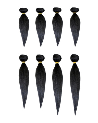 BEAU-DIVA Yaki WAVE 8PCS Brazilian Human Blend Hair PACKAGE 12'+14'+16'