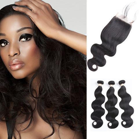 Free Closure:Brazilian Body Weaves x3Bundles+ Free Closure SKU 3BW/C