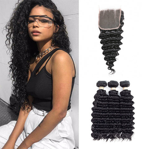 Free Closure:Brazilian DEEP WAVE x3Bundles+ Free Closure SKU 3DW/C