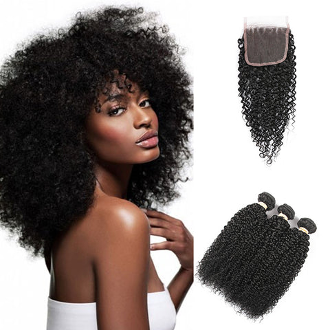 Free Closure:Brazilian KINKY CURL x3Bundles+ Free Closure SKU 3KW/C