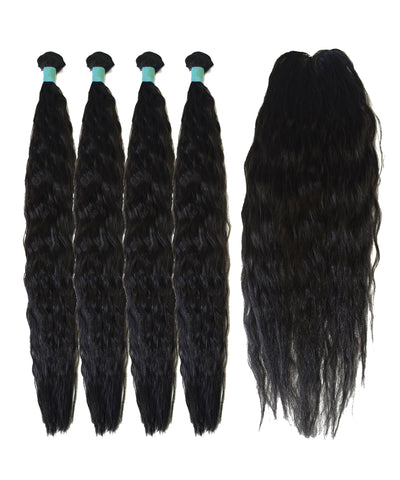 "22""inches 4pcs and Closure Kinky Style Synthetic Package"