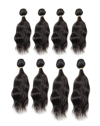 Beau-Diva Natural Wave 8pcs Brazilian Human Blend Hair Weaves Package
