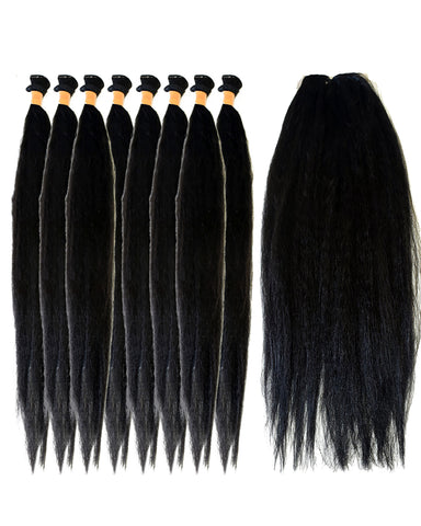 "24""inches 8pcs and Closure New Straight Style Synthetic Package"