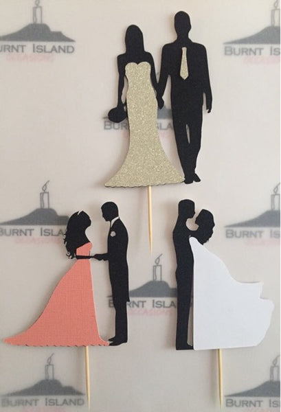 Bride and Groom Silhouette Cake Toppers