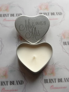 Personalised Engraved Heart Scented Candle