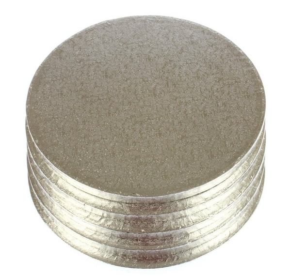 "8"" Round Thick Silver Cake Boards/Drums (Pack of 5)"