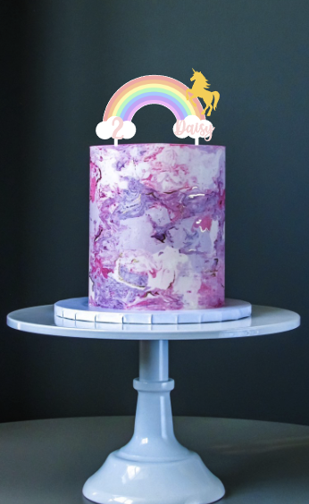 Personalised Rainbow Unicorn Cake Topper