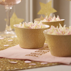 Gold Pack of 10 cupcake wraps