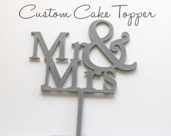 Silver plastic Mr & Mrs cake topper 4""