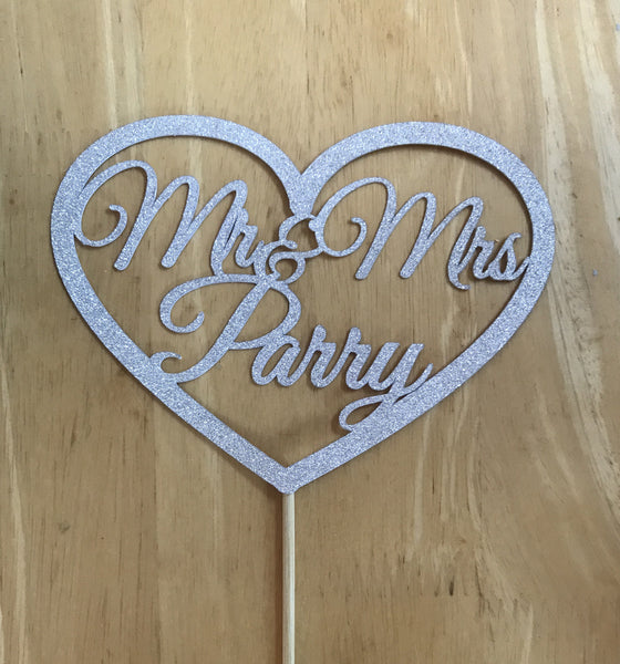 Mr & Mrs Personalised Large heart topper