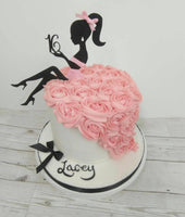 Two Piece Lady with Age Silhouette Cake Topper