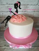Two Piece Lady with Glass Silhouette Cake Topper