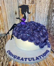 Two Piece Graduating Lady Silhouette Cake Topper
