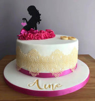 Two Piece Pregnant Lady Silhouette Cake Topper