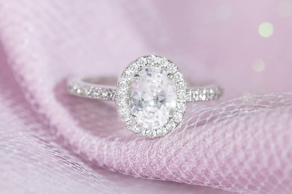 1.5 Carat Oval Cut Halo Engagement Ring Inexpensive Affordable Conflict Free Simulated Diamond Stone