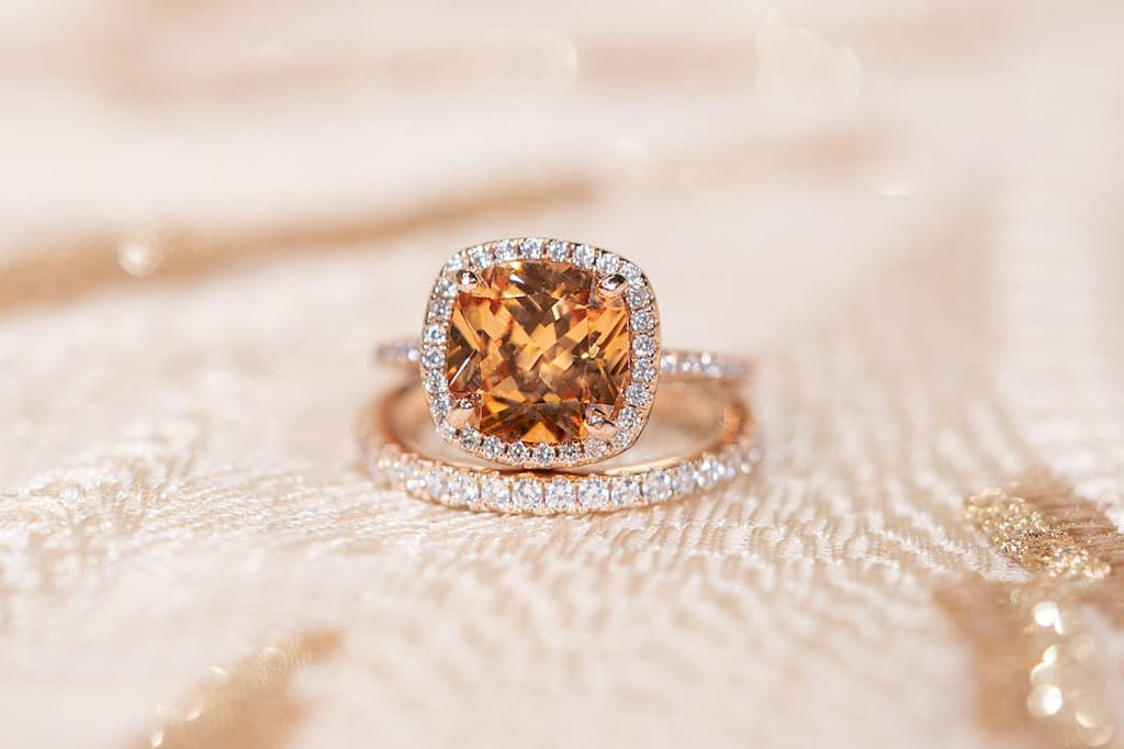 3 Carat Cushion Cut Halo Engagement Ring Morganite Simulated Stone Eternity Wedding Band Rose Gold Set Inexpensive Affordable Conflict Free
