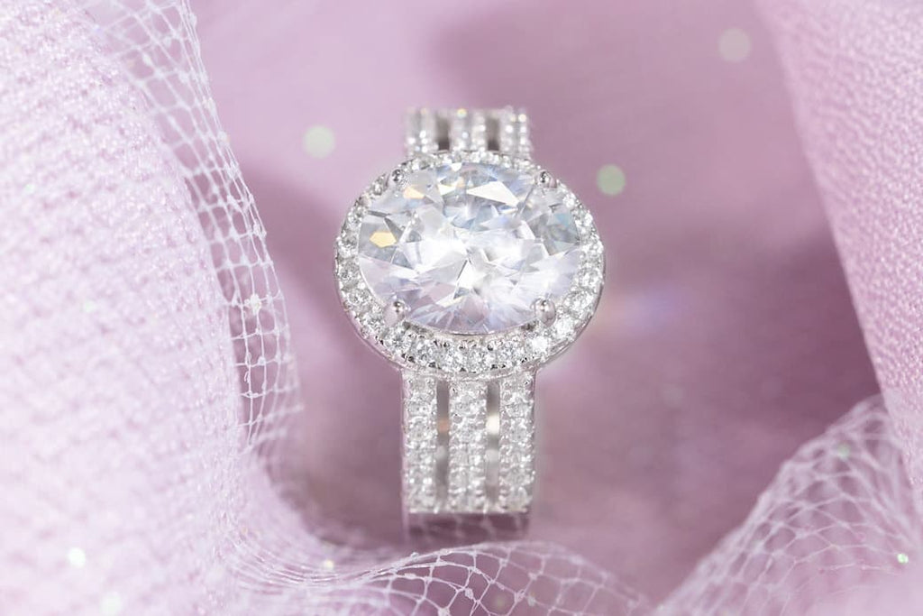 3 Carat Oval Cut Halo Engagement Ring Inexpensive Affordable Conflict Free Simulated Diamond Stone