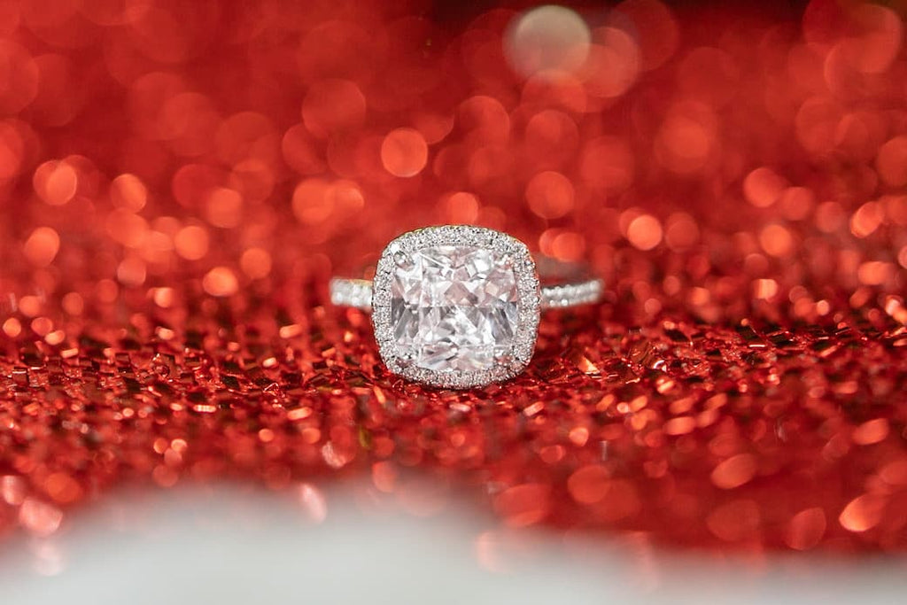 3 carat cushion cut halo engagement ring inexpensive affordable conflict free simulated diamond stone