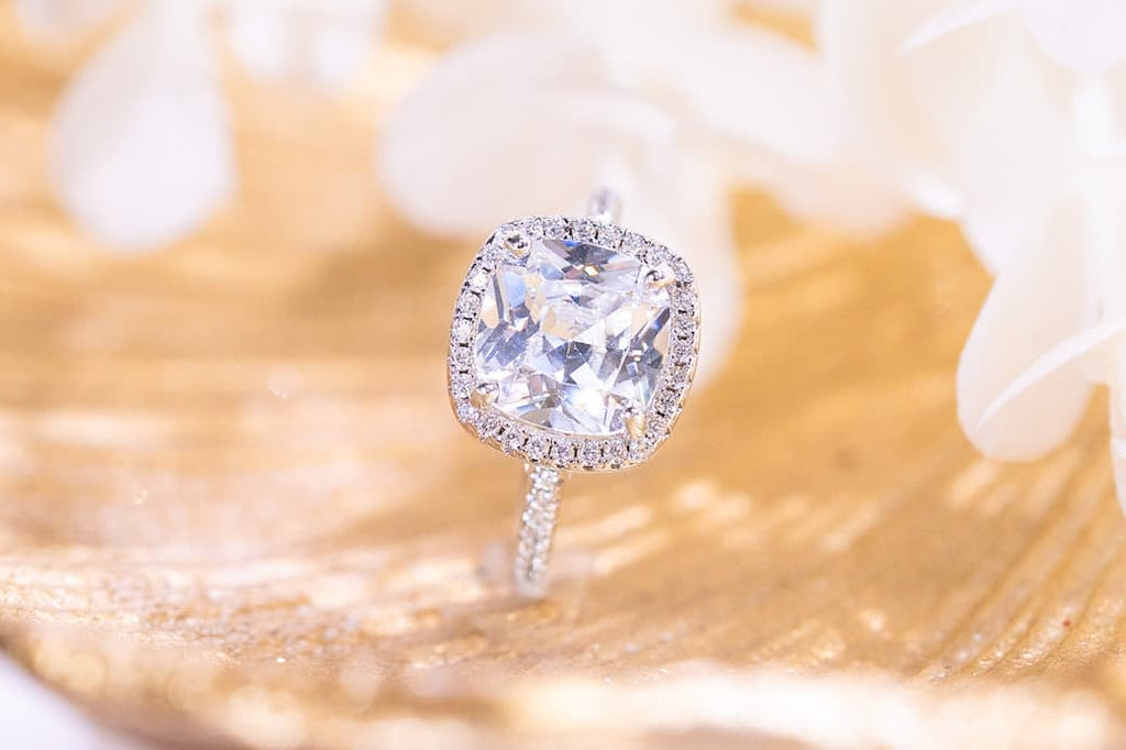 3 carat cushion cut halo engagement ring simulated diamond stone affordable inexpensive conflict free