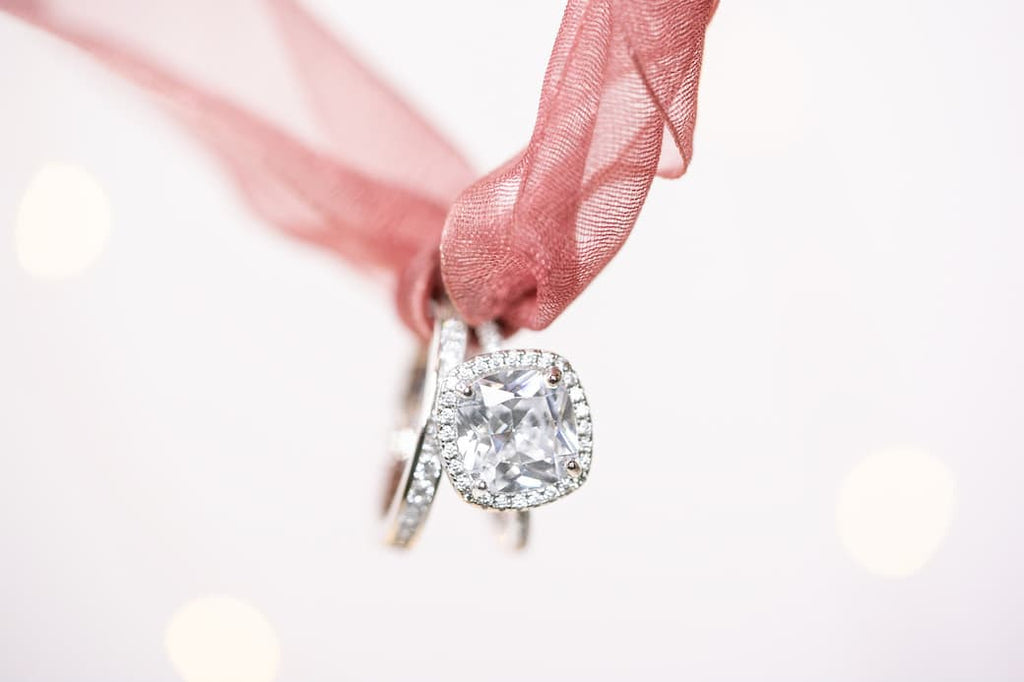 3 carat cushion cut halo engagement ring wedding band set inexpensive affordable conflict free simulated diamond stone