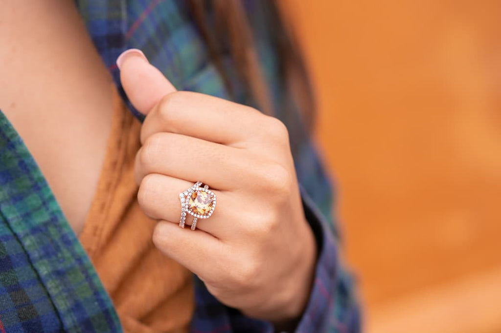 3 carat cushion cut halo simulated morganite stone inexpensive affordable conflict free engagement ring chevron rose gold wedding band