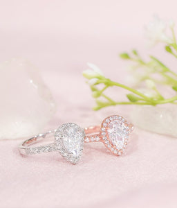 Silver and Rose Gold Pear Shaped Engagement Rings