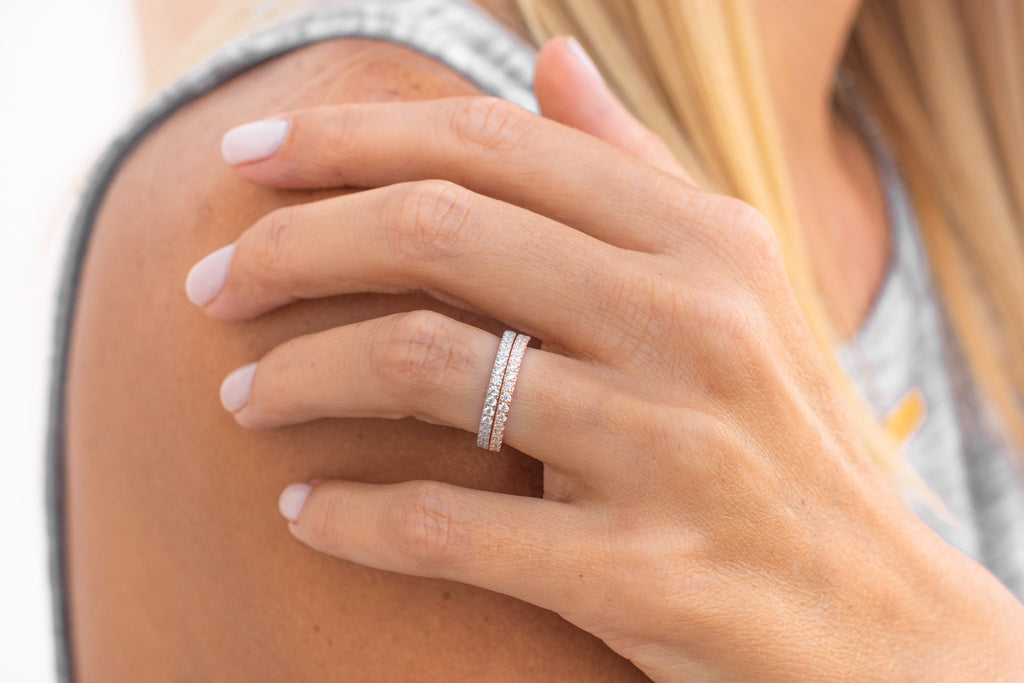 Beautiful Promise Bands Rings Sterling Silver Rose Gold Eternity Stackable 2mm