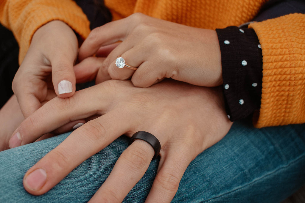 inexpensive affordable simple elegant engagement ring wedding band his and hers rose gold matte black