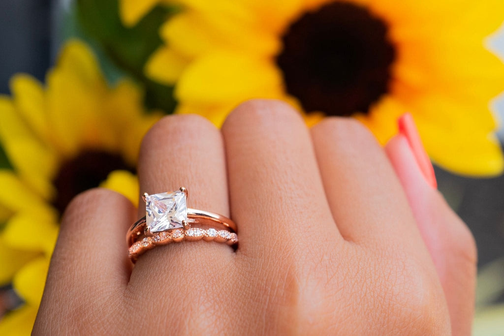beautiful engagement ring wedding band simple elegant rose gold princess cut ethical conflict free simulated diamond