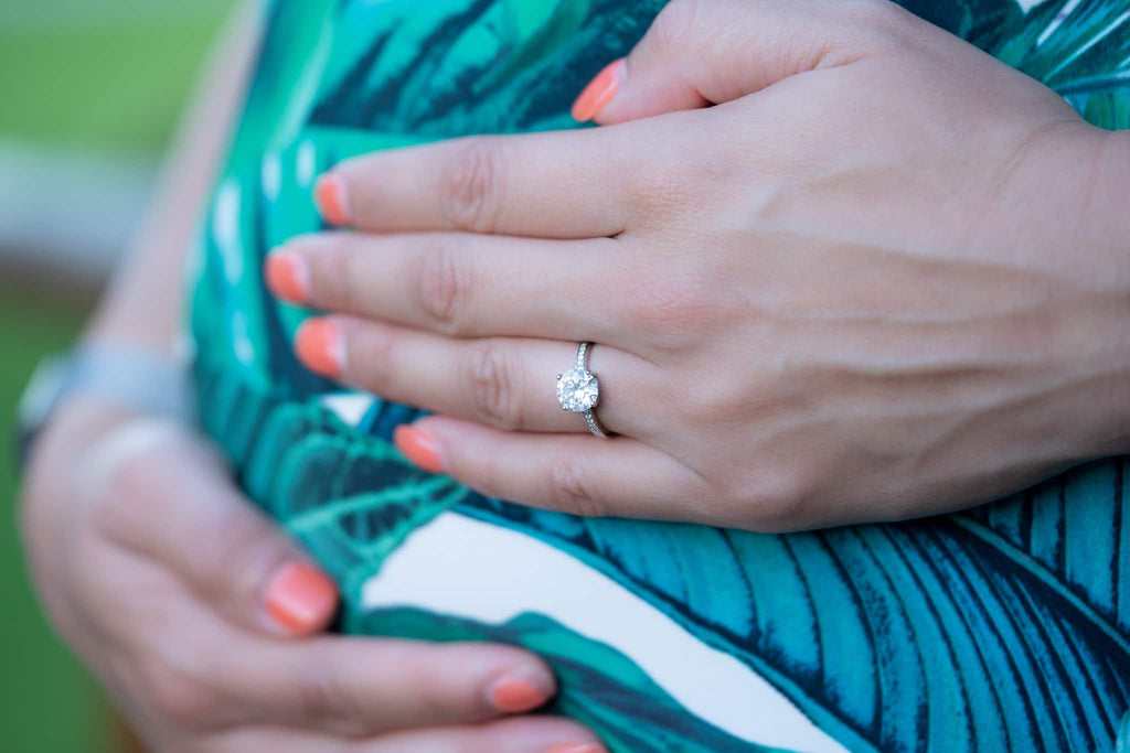 beautiful inexpensive alternative diamond engagement ring for pregnancy and travel conflict free