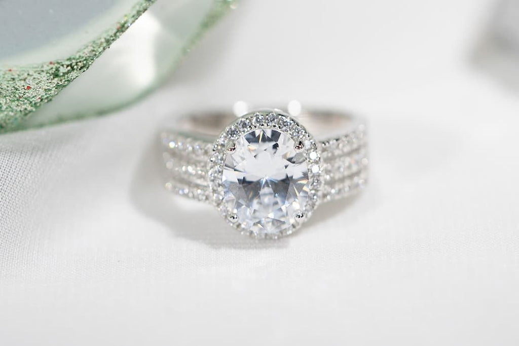 Classic 3 Carat Halo Oval Engagement Ring Inexpensive Affordable Conflict Free Simulated Diamond Stone