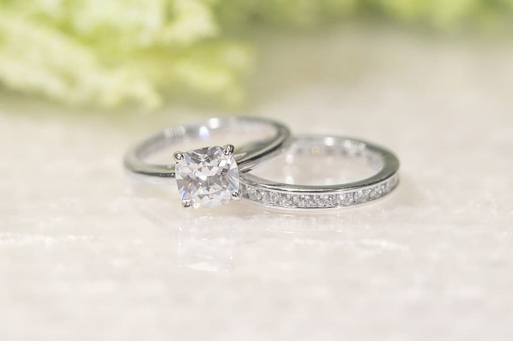 Classic Cushion Cut Solitaire Engagement Ring Wedding Band Set Inexpensive Affordable Conflict Free Simulated Diamond Stone