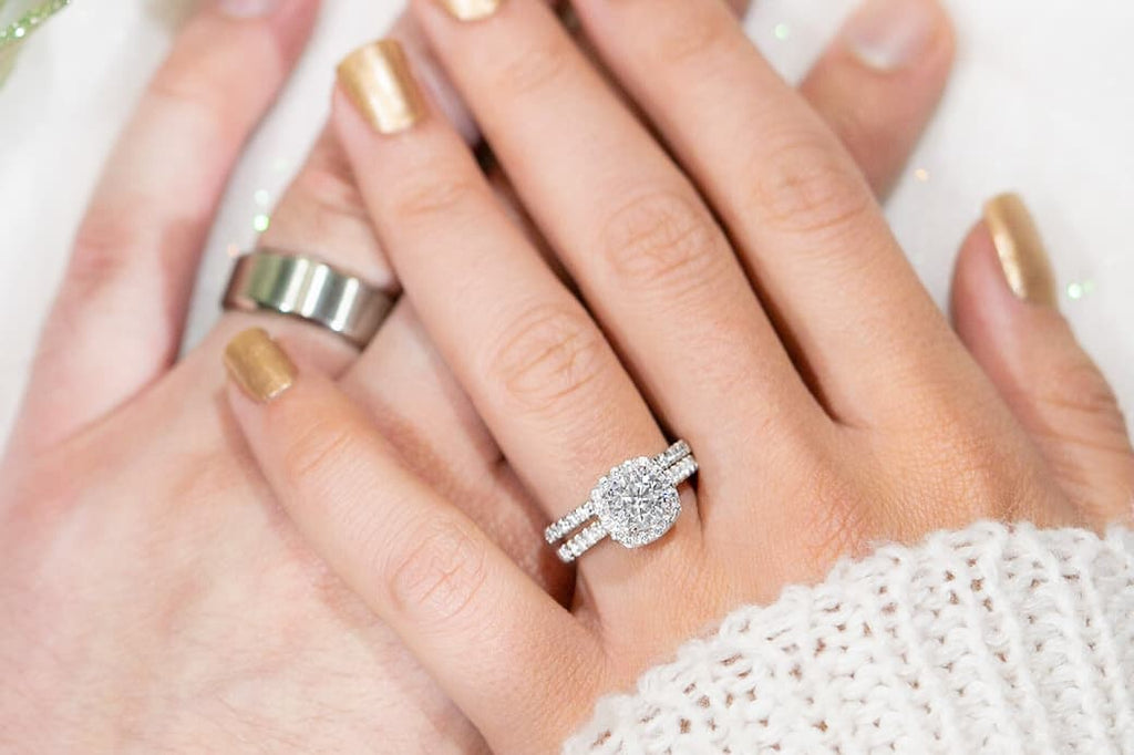 Classic His Hers Wedding Set Inexpensive Affordable Conflict Free Simulated Diamond Stone Cushion Halo Engagement Ring