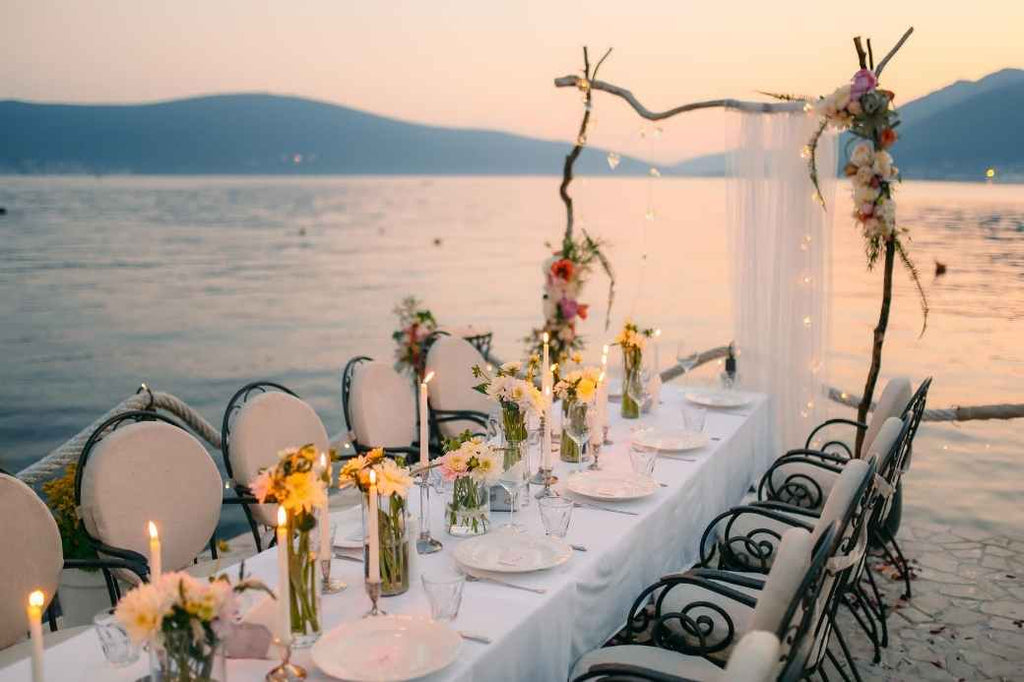 Waterfront wedding dinner table