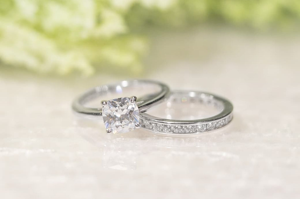 Cushion Cut Solitaire Engagement Ring Eternity Wedding Band Set Inexpensive Affordable Conflict Free Simulated Diamond Stone