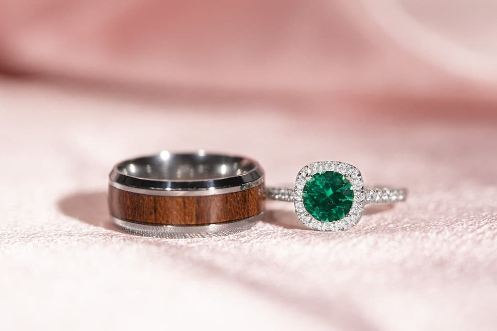 Cushion Halo Emerald Simulated Stone Engagement Ring Unique Men's Wedding Band Inexpensive Affordable Conflict Free His and Hers Set