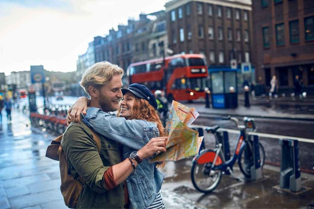 Couple in the city looking at a map