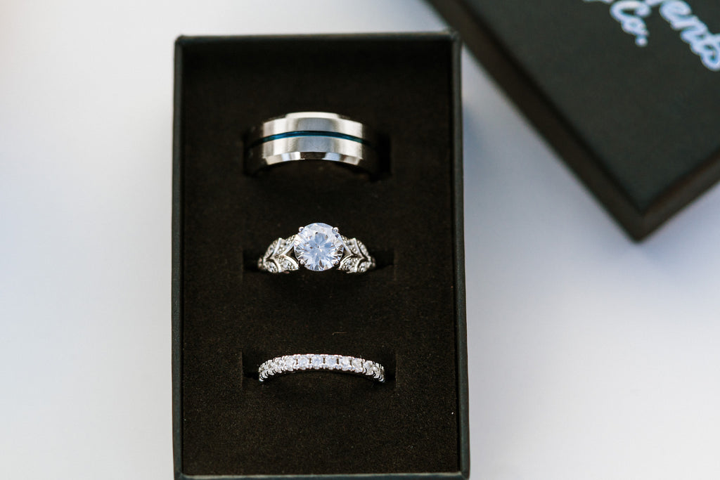 beautiful unique sterling silver complementary his and hers matching engagement ring and wedding band set for couples inexpensive affordable