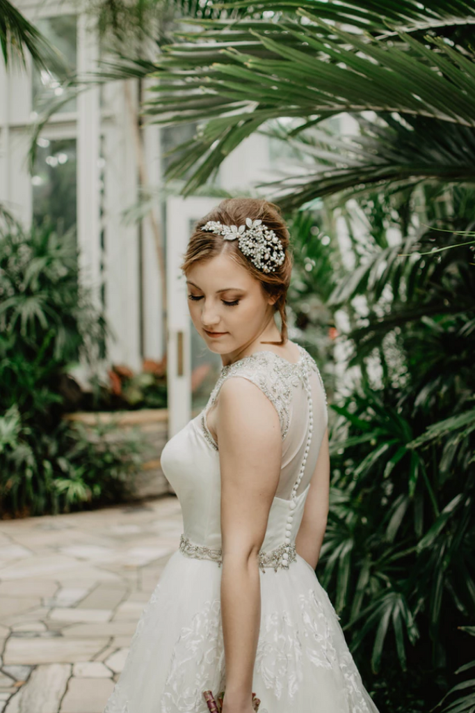 Bride wearing headpiece