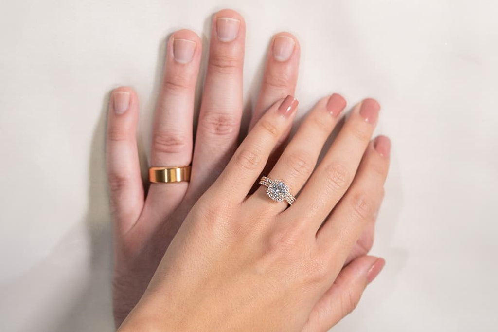 His Hers Engagement Ring Wedding Band Set Inexpensive Affordable Conflict Free Simulated Diamond Stone