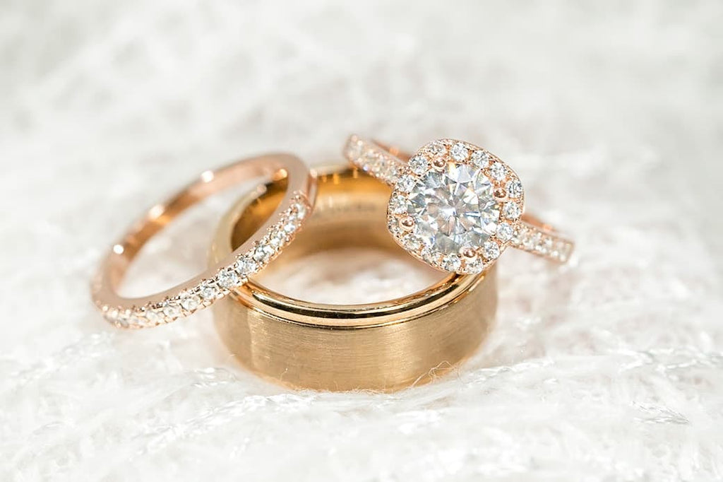 His and Hers Rose Gold Wedding Set Cushion Halo Engagement Ring Half Eternity Band Classic