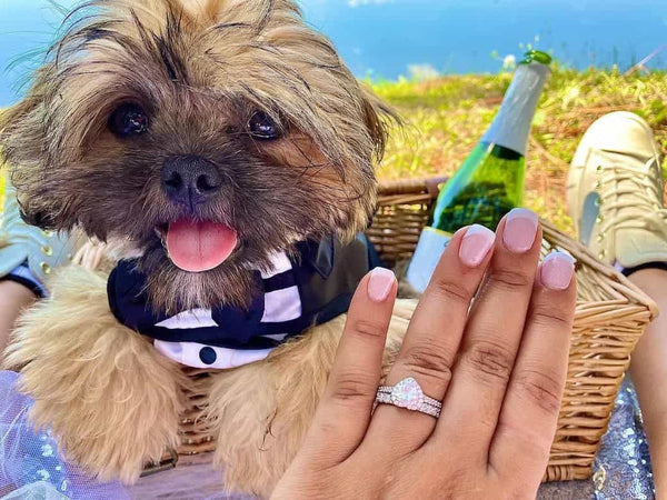 Inexpensive Affordable Heart Shape Halo Engagement Ring Wedding Band Dog Pup Selfie Photo