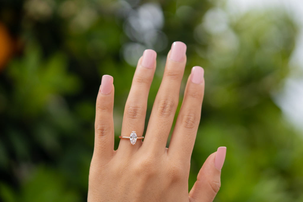 Inexpensive Affordable Rose Gold Simple Marquise Solitaire Engagement Ring Petite Conflict Free