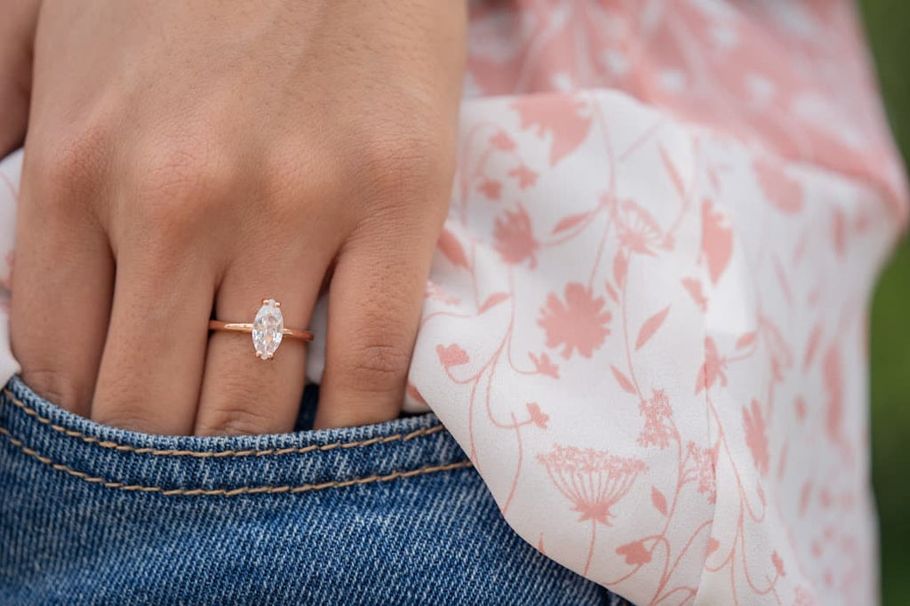 Marquise Cut Solitiare Rose Gold Engagement Ring Wedding Inexpensive Affordable Conflict Free Simulated Lab Grown Man Made Diamond