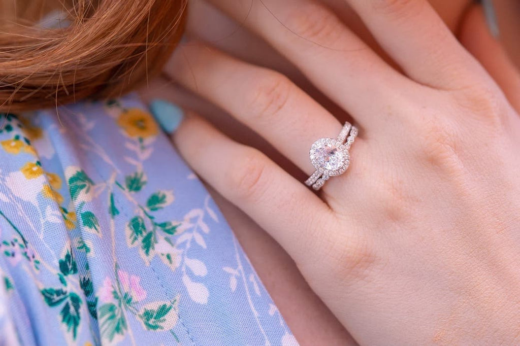 Oval Cut Halo Engagement Ring Vintage Wedding Band Inexpensive Affordable