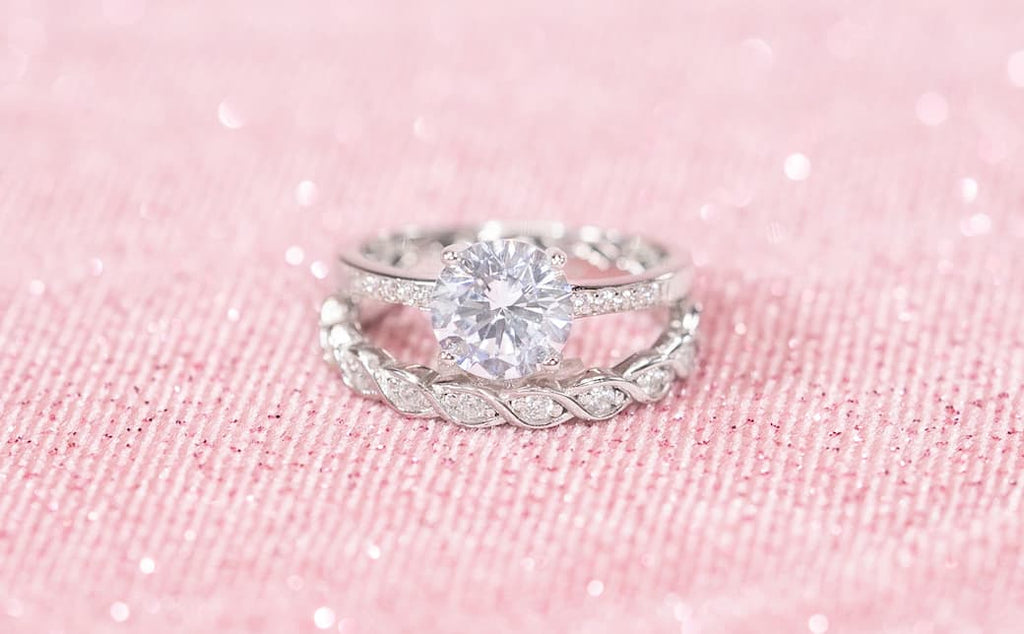 Pave Round Cut Engagement Ring Braided Unique Wedding Band Set Inexpensive Affordable Conflict Free Simulated Diamond Stone