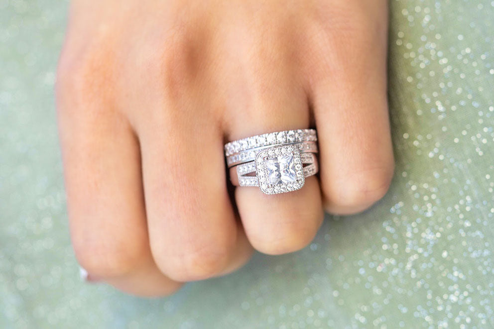 closeup of a multi-stone engagement ring