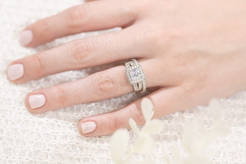 Princess Cut Halo Engagement Ring Eternity Channel Setting Wedding Band Inexpensive Affordable Conflict Free Simulated Diamond Stone